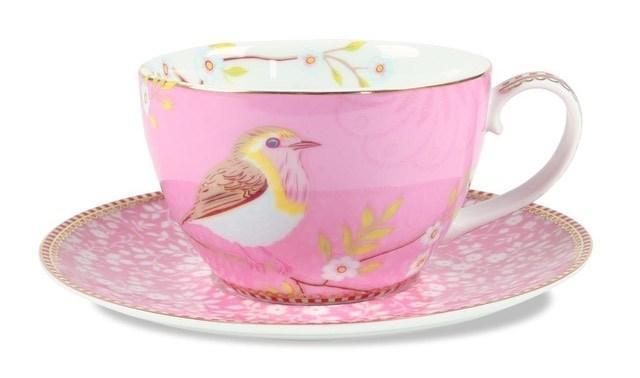 Ceaşca pentru cappuccino şi farfurie roz - Birds Pip Studio